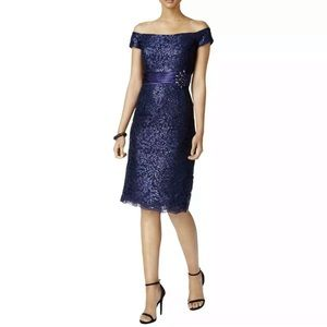 NWT✨ Alex Evenings Navy Sequin Lace Cocktail Dress